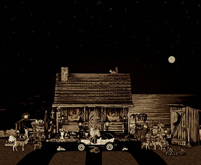 Photograph - Log Cabin Scene Near The Ocean In Sepia Color With Old Time Classic 1908 Model T Ford by Leslie Crotty