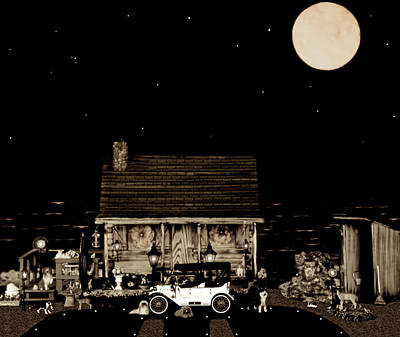 Log Cabin Scene  With The Old Vintage Classic 1913 Buick Model 25 In Sepia Color Art Print by Leslie Crotty