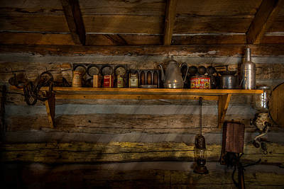 Log Cabin Interiors Photograph - Log Cabin Shelf by Paul Freidlund