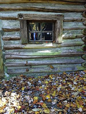 Colorful Houses Photograph - Log Cabin Window And Fall Leaves by Rebecca Korpita
