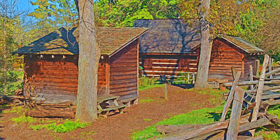 Digital Art - Log House And Outbuildings / Oliver Miller Homestead by Digital Photographic Arts