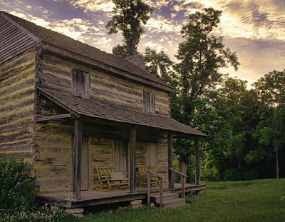 Log Cabin Photograph - Log House Dusk by Heather Applegate