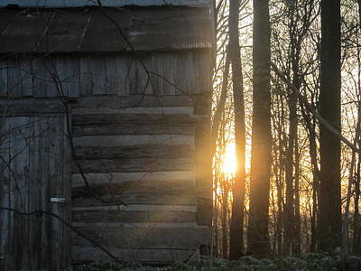 Log House Up Close And Sunset Art Print