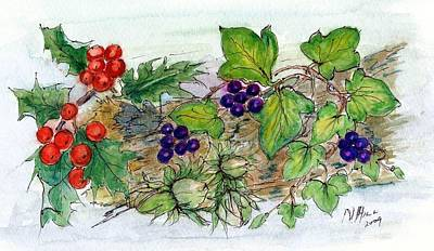 Log Of Ivy, Holly And Hazelnuts  Art Print by Nell Hill