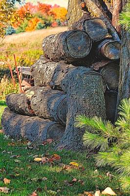 Painting - Log Pile by Peter Jackson