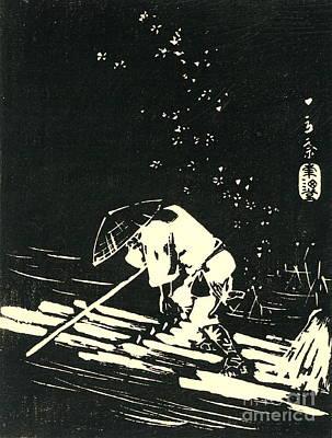 Ando Hiroshige Photograph - Log Raft 1848 by Padre Art