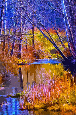 Autumn Landscape Mixed Media - Somewhere Stream by Brian Stevens