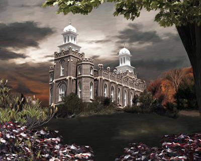Lds Painting - Logan Temple - A Light In The Storm by Brent Borup