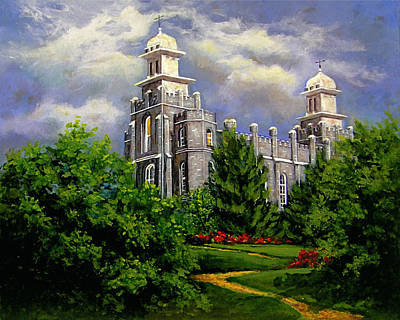 Painting - Logan Utah Temple Pathway To Heaven by Marcia Johnson
