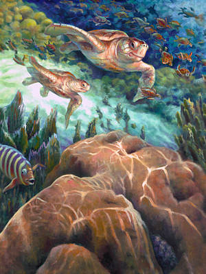 Reptiles Royalty-Free and Rights-Managed Images - Loggerhead Sea Journey I by Nancy Tilles