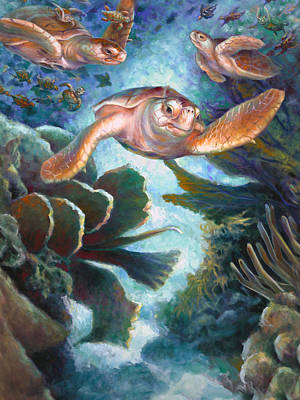 Painting - Loggerhead Sea Journey II by Nancy Tilles