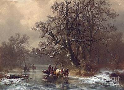 Snowy Stream Painting - Loggers On A Frozen Waterway by Heinrich Hofer