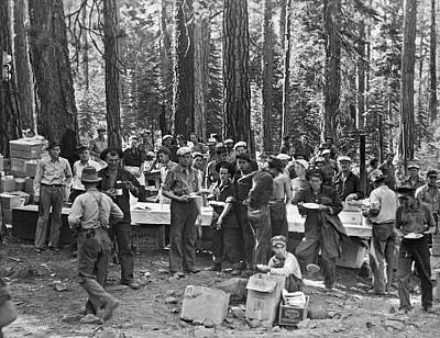 Logging Photograph - Logging Crew Lunch by Underwood Archives