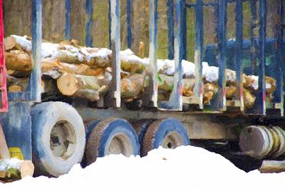 Deforestation Painting - Logs In The Truck by Lanjee Chee