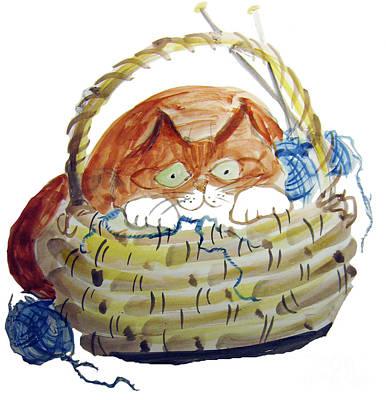 Lois Hides In The Basket Of Knitting Art Print by Ellen Miffitt