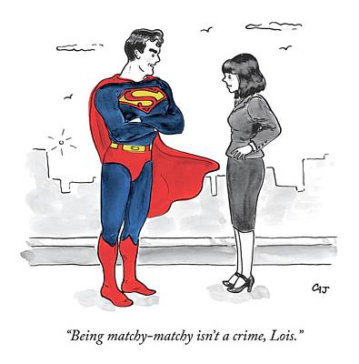 Super Heroes Drawing - Lois Lane And Superman Talk On The Street. Digibuy by Carolita Johnson