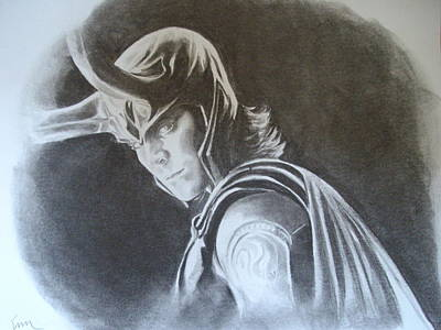 Thor Drawing Drawing - Loki Of Asgard by Emily Maynard