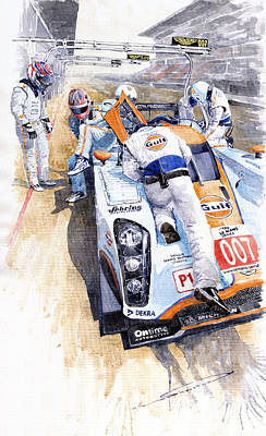 Racing Painting - Lola Aston Martin Lmp1 Gulf Team 2009 by Yuriy  Shevchuk