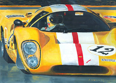 Le Mans 24 Painting - Lola T70 Mkiii/b 1969/1970 Season Cars Sebring Le Mans by Yuriy Shevchuk