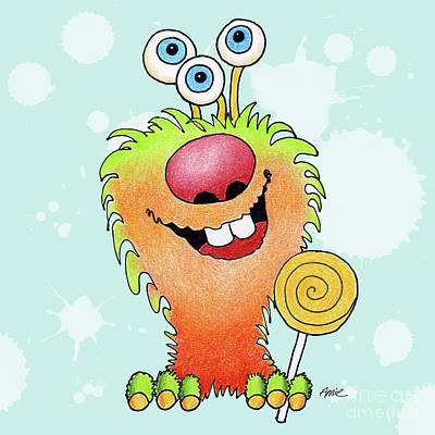 Lolli Pop Monster Art Print by Annie Troe