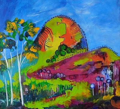 Art Print featuring the painting Lollipop Mountain by Lyn Olsen