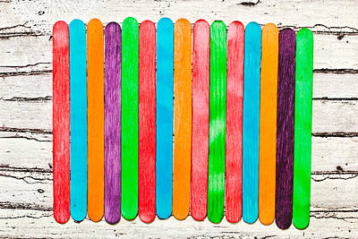 Multi Colored Photograph - Lollipop Sticks by Tom Gowanlock