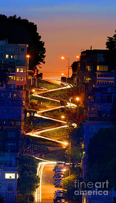 Lombard Street Depth Into The Darkness Of Light Art Print