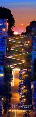 Lombard Street In The Evening San Francisco Art Print