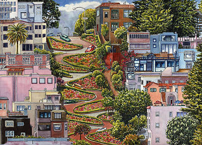 Bay Area Painting - Lombard Street by Karen Wright