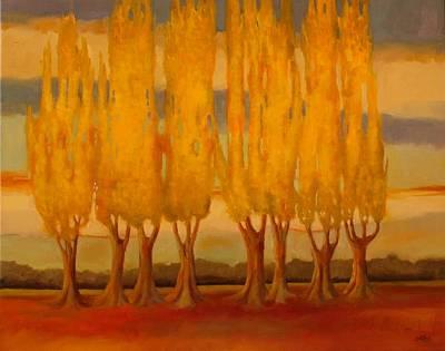 Farm Fields Painting - Lombardy Poplars by Sue  Darius