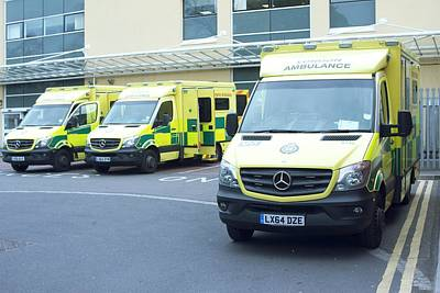 First Responders Wall Art - Photograph - London Ambulances by Mark Thomas/science Photo Library