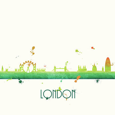 London Skyline Painting - London by Anna Quach