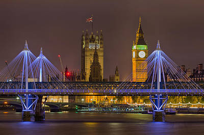 Photograph - London At Night 1 by Leah Palmer