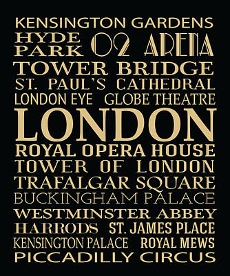 Digital Art - London Attractions by Jaime Friedman