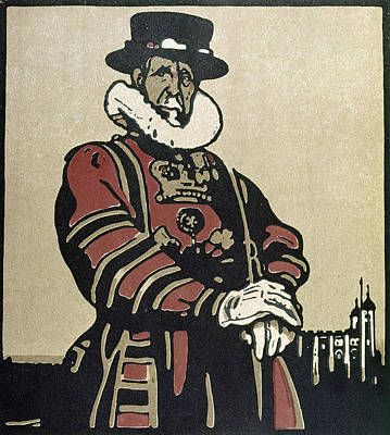 Ruff Drawing - London Beefeater, 1898 by Granger