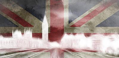 Surreal Digital Art Painting - London Big Ben Abstract by Steve K