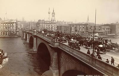 1885 Photograph - London Bridge Traffic by Underwood Archives
