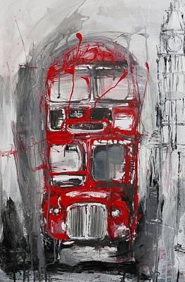 Big Ben Painting - London Bus by Irina Rumyantseva
