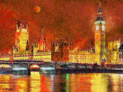 Westminster Abbey Painting - London By Night by George Rossidis