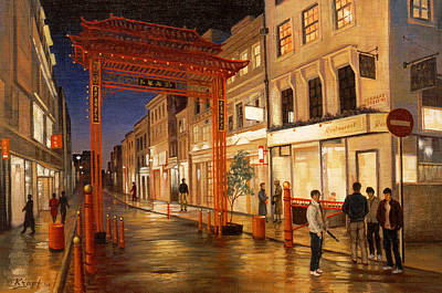 Rainy Day Painting - London Chinatown by Paul Krapf