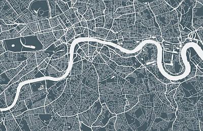 Topography Wall Art - Digital Art - London City Map by Mattjeacock