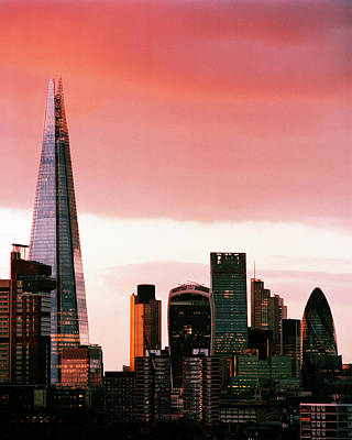 London City Skyline At Sunset - Art Print by Shomos Uddin