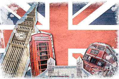 Big Ben Digital Art - London Collage by Delphimages Photo Creations