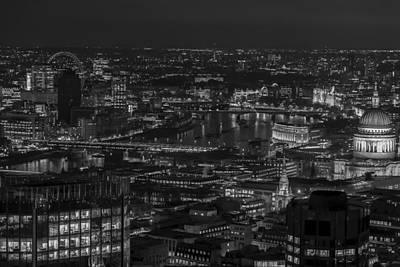 London City At Night Black And White Art Print
