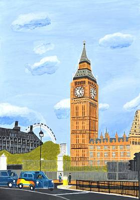 Art Print featuring the painting London England Big Ben  by Magdalena Frohnsdorff