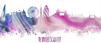 London Skyline Digital Art - London England Skyline  by Justyna JBJart