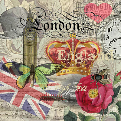 Tower Of London Digital Art - London England Vintage Travel Collage  by Mary Hubley