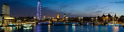London Eye Photograph - London Eye And Central London Skyline by Panoramic Images