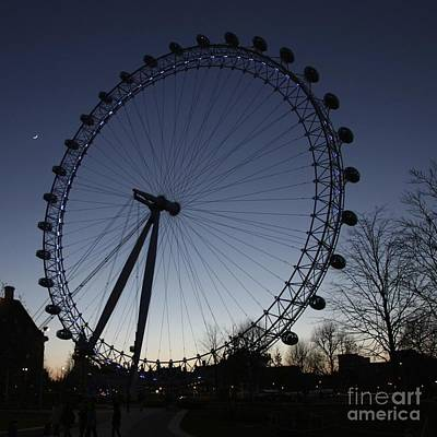 Photograph - London Eye And New Moon by Jeremy Hayden