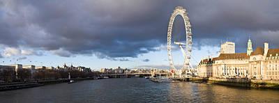 London Eye Photograph - London Eye At South Bank, Thames River by Panoramic Images